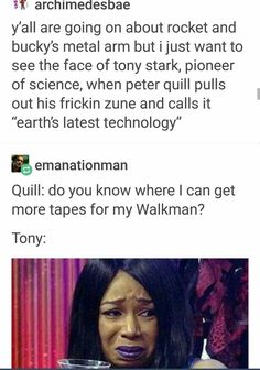 But honestly, Tony's reaction to Peter Quill will be the same as Shuri to Tony