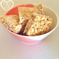 Sugar Free Kids Healthy rice bubble slice recipe for lunchboxes and it's nut free. Click on image for info. | #sugarfree #smarthomesforliving