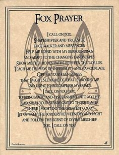 Fox Prayer Parchment Poster Animal Spirit Guide Art Print Wicca Pagan Native Am | eBay