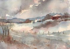 Dusk by Leslie Fehling - Everyday Artist Watercolor Barns, Watercolor Journal, Watercolor Landscape, Landscape Art, Landscape Paintings, Watercolor Painting Techniques, Watercolour Painting, Painting & Drawing, Watercolors
