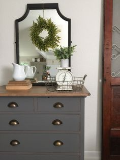 Farm Fresh Homestead. Charcoal gray farmhouse dresser with cup pulls. DIY. Milk paint. Vintage