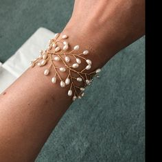 Bridal headpiece, Swarovski crystal forehead band, wedding hair accessories, boho wedding, crystal h Handmade Wire Jewelry, Beaded Jewelry, Beaded Bracelets, Wire Wrapped Jewelry, Jewellery, Bridal Bracelet, Bridal Earrings, Bridal Jewelry, Gold Earrings