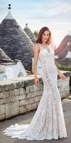 eddy k 2018 bridal sleeveless sheer jewel sweetheart neckline full embellishment elegant fit and flare wedding dress sheer lace back chapel train (adela) mv -- Eddy K 2018 Wedding Dresses