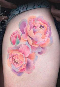 Beautiful Peony Tattoo