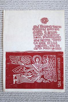 https://flic.kr/p/7oPw6W | angel card | my dad made this block print about 40 years ago for a Christmas card. my mom sent me and my siblings each a print. so amazing.