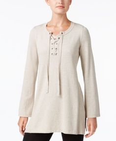 Style & Co Lace-Up Tunic Sweater, Created for Macy's | macys.com