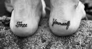 foot tattoo text