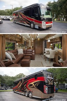 This high-class is waiting for you to take it on the open road and start your adventure. Come check out this luxurious modern RV at If you have any questions or would like more information on this model, please let our team know! Bus Motorhome, Rv Bus, Class A Motorhomes, Motorhomes For Sale, Motor Casa, Luxury Rv Living, Luxury Rv Resorts, Cool Rvs, Rv World