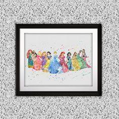 Disney Princess printables Painting, Disney Princess art Print, Princess Poster