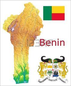 Benin. Escudo, bandera y mapa.