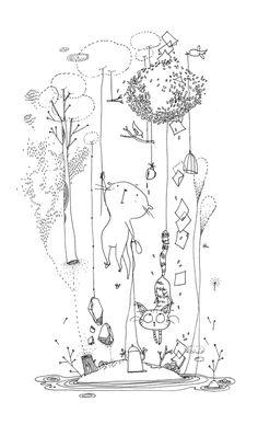 Mooli : Tous les messages sur Mooli - Page 5 - les chosettes Art And Illustration, Illustrations, Doodle Drawings, Doodle Art, Art Du Croquis, Colouring Pages, Cat Art, Art Sketches, Painting & Drawing