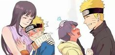 #naruhinaislove This is funny and cute. Haha little naruto is grabin her boob lol