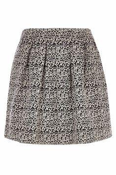 River Island Black and White Jacquard Full Mini Skirt, $50, available at River Island.