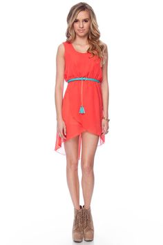 Belted Coral Chiffon Hi-Low Dress.
