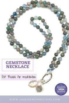 This beautiful gemstone necklace is made with 6mm Kyanite beads. It has a special sterling silver clasp that opens to add your favorite charms. Because it's made with 108 beads, it's also perfect to meditate with. This special and timeless necklace, will become your favorite in no time. Semi Precious Beads, Semi Precious Gemstones, Meditation, Beaded Bracelets, Necklaces, Handmade Bags, Gemstone Necklace, Quartz Crystal, Light In The Dark
