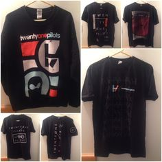 twenty one pilots |-/ All in great condition. Despite: the sweater has a bit of red paint on the sleeve & the shirt with the vertical logo's square is lightly faded. The shirt sizes vary but they fit pretty similar. The 2 M shirts were concert merch, can't buy them anymore. The vertical logo 1 is only available in a bundle on TØP's website. The other 2 are sold at FYE, the black & white one is an FYE exclusive. The sweater is from Hot Topic, not sold anymore. I haven't been able to find…