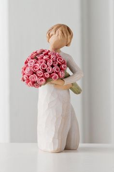 """This beautiful resin figure of a young girl holding a overflowing bouquet of roses is the perfect gift for a mother, grandmother or sister.    Measures:5.5""""   Abundance Figure by Willow Tree by Demdaco . Home & Gifts - Home Decor - Decorative Objects Dallas, Texas"""