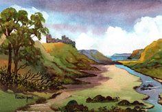 Watercolour Print Pennard Castle Gower by Pamelajonesartstudio, £5.00