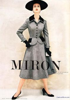 Ad for Miron brand wool from 1954; Dan Millstein suit in wool tweed accented with black velvet at the collar and pockets