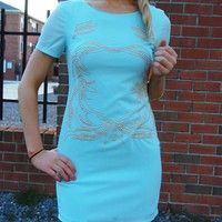 Mint Chiffon Mini Dress with Gold Bead Front Embellishment