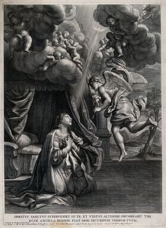 The Annunciation to the Virgin. Engraving by Cornelis Bloemaert after Giovanni Lanfranco