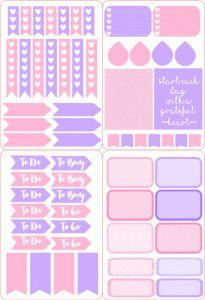 Silhouette Design Store - View Design #95624: pink & purple planner sticker set