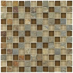 Somertile Reflections Square 1-inch Brixton Stone and Glass Mosaic Tiles (Pack of 10) | Overstock.com