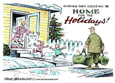 Christmas homecoming, Dave Granlund,Politicalcartoons.com,military, soldier, GI, army, marine, air force, leave, home,