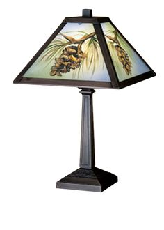 16 Inch H Northwoods Pinecone Hand Painted Accent Lamp