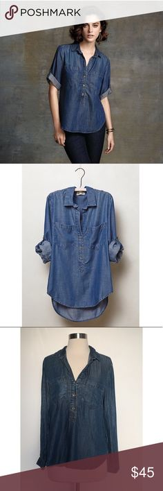 "Cloth & stone Chambray Popover Button Down Anthropologie cloth & stone chambray popover top. Super cute and perfect for upcoming spring! Good condition. Pit to pit: 20"" front length: 23"" back length: 26"" shoulder: 18"" Anthropologie Tops Button Down Shirts"