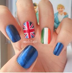 One direction nails! probz gonna do this for the concert ; Cute Nail Art, Beautiful Nail Art, Cute Nails, Pretty Nails, Concert Nails, 1d Concert, One Direction Nails, Hair And Nails, My Nails