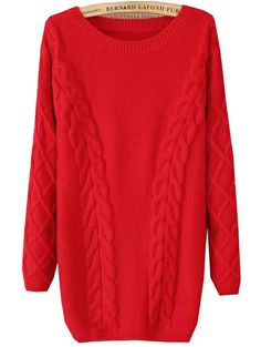 Red Long Sleeve Cable Knit Loose Sweater - Sheinside.com