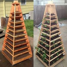If you don't have enough room to plant fresh veggies or herbs or other gardening yourself this year, try DIY Vertical Garden Pyramid Planter. Vertical Planter, Vertical Garden Diy, Vertical Gardens, Small Gardens, Diy Planters, Garden Planters, Herb Garden, Vegetable Garden, Planter Ideas