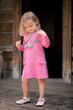 Knitted girls dress and cardigan
