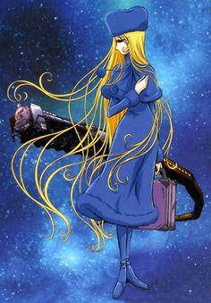 Maetel porte un costume bleu dans Cosmowarrior Zero