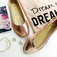 Rose Gold Faux Leather Flats Size 7, new in box. 01071613 Modern Rush Shoes Flats & Loafers