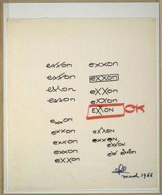 Exxon logo sketches by Raymond Loewy
