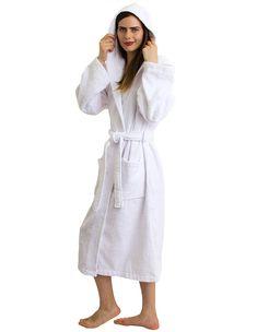 6fab5cdf05 Women s Robe Turkish Cotton Hooded Terry Bathrobe Made in Turkey - White -  CD11S7WISIV