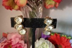15% Coupon 4022017 Judy Lee Goldtone Rhinestone Earrings Set in Gold Tone Metal - a pair of True Vintage Hollywood Vintage Gems! by CCCsVintageJewelry on Etsy