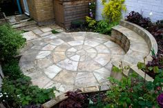 Sandstone Circle seating Small Courtyard Garden East London