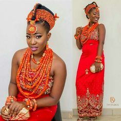 . Traditional Wedding Attire, African Traditional Wedding, Traditional Weddings, African Beauty, African Fashion, Nigerian Fashion, Igbo Bride, Coral Fashion, People Dress