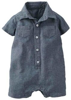 Carter's Infant Boy Denim Chambray Button Up Romper 24m