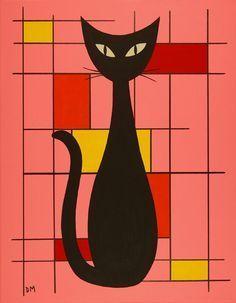 Mid Century Modern Original Acrylic Painting of a black cat. Mid Century Modern Art, Mid Century Art, Mid Century Design, Black Cat Painting, Black Cat Art, Black Cats, Retro Art, Vintage Art, Retro Clock