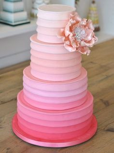 Pink ombre cake....  Would like this for your upcoming wedding or special event? Call 345-926-2008 or email: events@imaginationsgroup.com