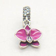 Authentic S925 Silver Dangle Enamel Purple Orchid Clear CZ Bead ..Pandora Compatible by SHOPBEADSANDBRACELET on Etsy