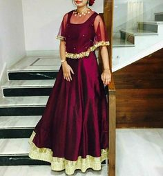 Taffeta Silk Self Design Stitched Cape Gown Lehenga Designs, Kurta Designs, Cape Gown, Long Gown Dress, Saree Dress, Long Gowns, Indian Gowns Dresses, Indian Outfits, Designer Gowns
