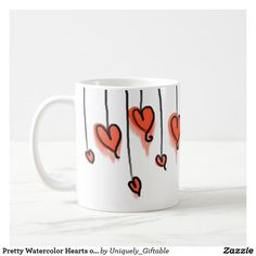 Pretty Watercolor Hearts on Strings Coffee Mug