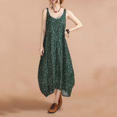 Green Floral beiläufige lose Riemchen Kleider von casualfashion auf DaWanda.com