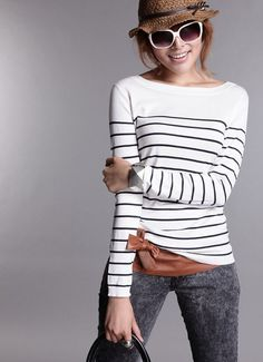 Women's Knitted Cashmere Sweater Plus Size Stripe Wlack White Woman Winter Clothes Pullover Base Shirt