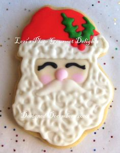SANTA FACE Decorated Cookies - Santa Decorated Cookie favors - Christmas Cookies Gifts - 6 Cookies. $25.99, via Etsy.